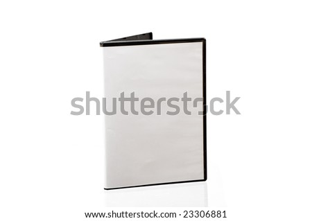 Black box with writable DVD disc inside isolated on white background.