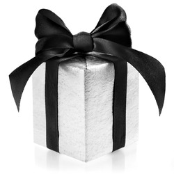 Black box wrapping ribbon bow isolated on white