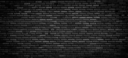 Black brick floor and wall backgrounds, brick room, interior texture, wall background.