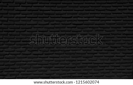 Black brick wall concrete  background  horizontal, architecture , wallpaper texture construction building for Quality art