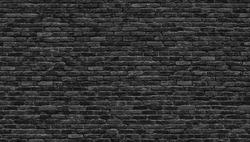 Black brick wall texture, brick surface as background