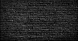 Black brick wall texture, brick surface for background. Vintage wallpaper.