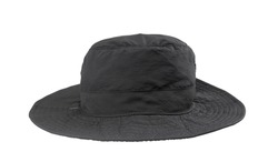 Black brim hat isolated on white background with clipping path