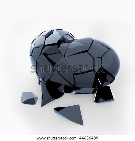 Black broken heart - stock photo