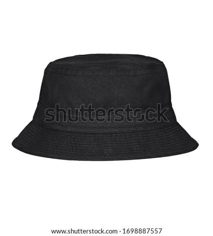 Black bucket hat on white background. Zdjęcia stock ©