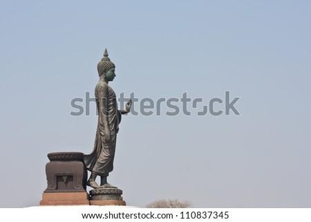 Black buddha statue in thai temple, thai temple open to public