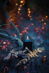 black burning candle in autumn mystery dark forest. wicca witchcraft ritual. magic fall season Background. Mabon, Halloween holiday concept