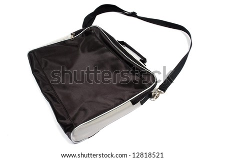 Black business bag. Isolated on white.