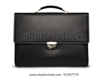 Black business briefcase (front view) with shadow on white background and clipping path