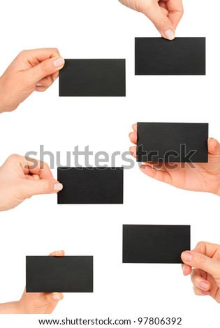 black business card in woman hand collection
