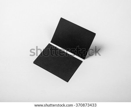 Black business cards on a white background. Identity design, corporate templates, company style. Horizontal #370873433