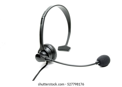 Stock photo of a black business telephone headset isolated on a white background.