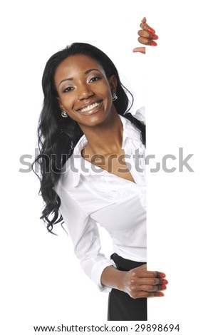 Black businesswoman holding a black sign isolated on a white background