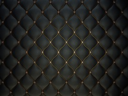 Black Buttoned luxury leather pattern with diamonds and gemstones. Useful as luxury pattern