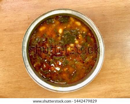 Black Cabbage or Kale Soup / Turkish Kara Lahana Corbasi. Traditional Organic Food. Stok fotoğraf ©