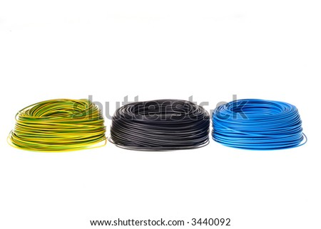 black cabel in three colours on white background