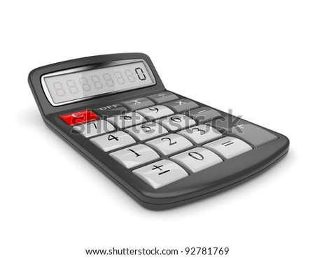 Black calculator 3D. Mathematics object. Isolated on white background