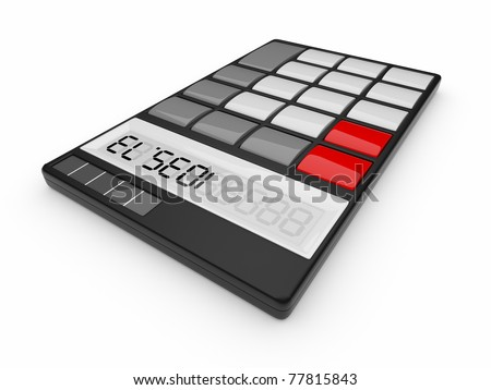 Black calculator 3D. On white background