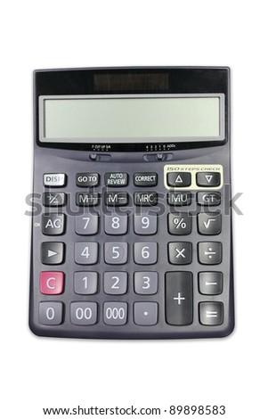 Black calculator isolated on white background
