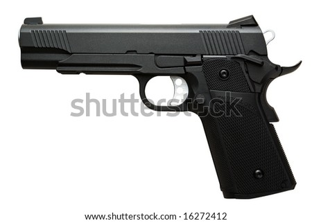 Black .45 caliber pistol isolated over white, clipping paths included