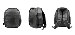 Black camera backpack isolated on white background, back view, front view, side view