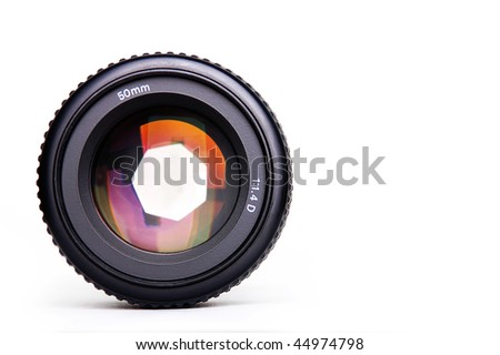 Black camera lens isolated in white background