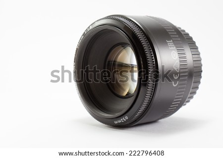 Black camera lens isolated on white background #222796408