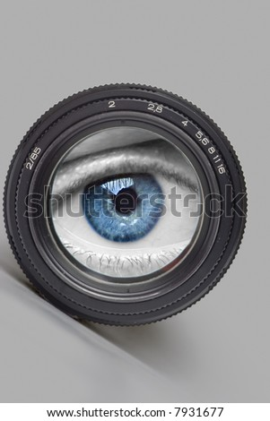 Black camera lens with eye on world