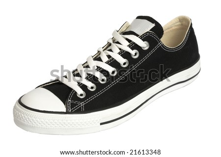 Black canvas sneaker, isolated, clipping path