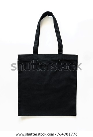 Black canvas tote bag mockup fabric cloth for woman's shoulder eco shopping sack mockup template isolated on white background (clipping path)