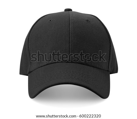Black cap isolated on white background.