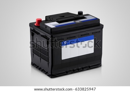 black car battery closeup on a white background #633825947