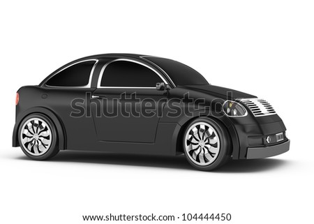 black car isolated on white background. 3d rendered image. my own design