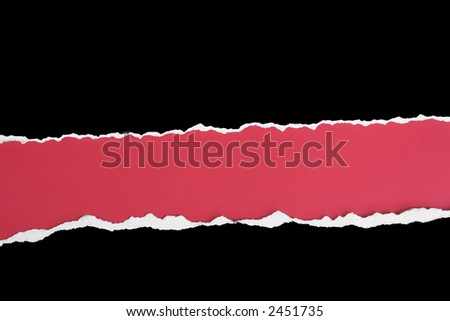 Black card wide torn out horizontal strip on a red background