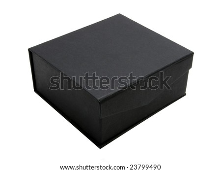 black cardboard box isolated on white background