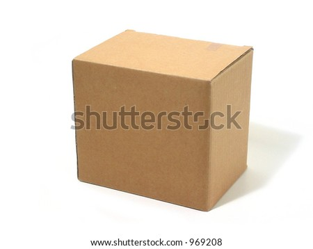Black cardboard box isolated on white background - stock photo