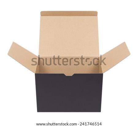 Black cardboard box on a white background