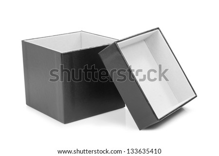 Black cardboard box with the lid off over white background.