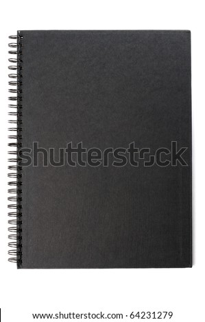 black cardboard the inside of ring notebook isolate on white - stock photo