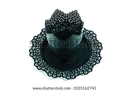 Black carved elegant elegant pot on the stand #1025162743