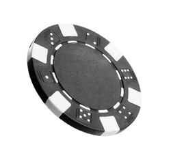 Black casino chip isolated on white. Poker game
