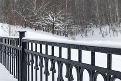 Black cast-iron railings dusted with snow, against the background of a city park