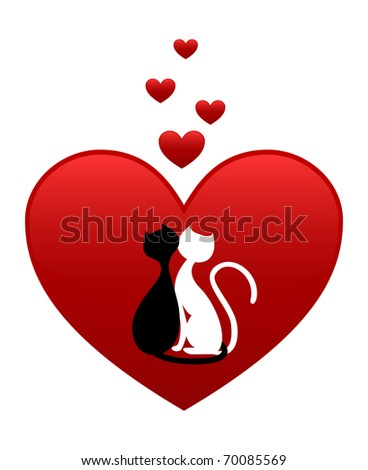 Black cat and white cat, side by side in red heart