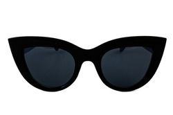 Black cat eye sunglasses with thick frame and gradient window isolated on white background, front view