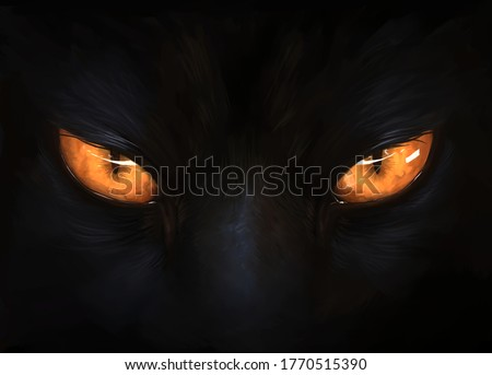 Black cat eyes illustration. Digital painting.