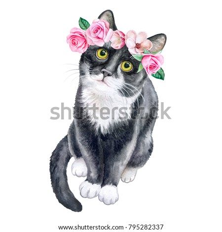 Black cat in a flower wreath. Crown with roses. Watercolor. Illustration. Template. Close-up. Clip Art. Handmade Image. Picture