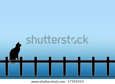 black cat on fence and blue background.   .jpg   Room for copy.