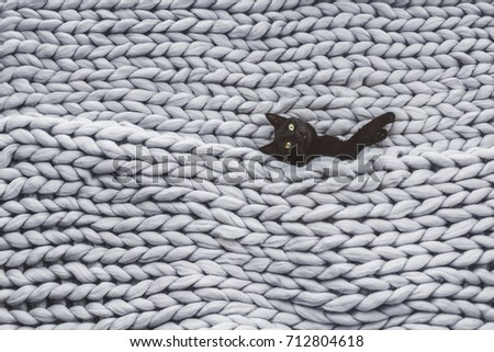 Black cat relaxing on knitted woolen chunky blanket. Funny kitty in the warm soft bed. Scandinavian style, hygge, cozy concept. #712804618