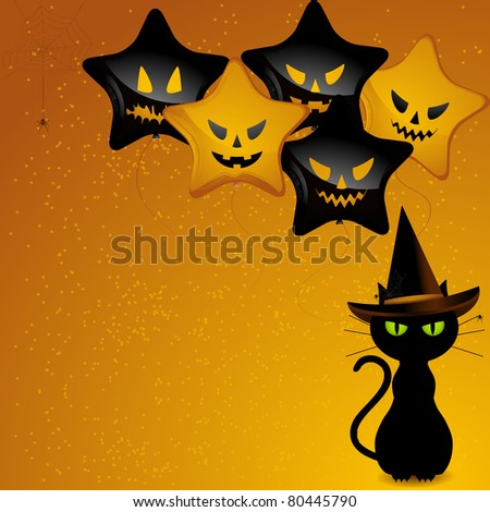 Black cat wearing witches hat sat in front of orange and black balloons with scary faces