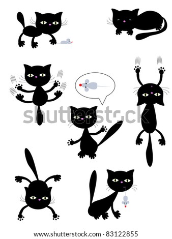 Black cats,isolated..